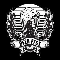Vintage beer logo hand drawn vector