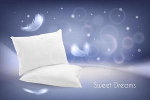 Ilustración realista con almohadas blancas y plumas. vector
