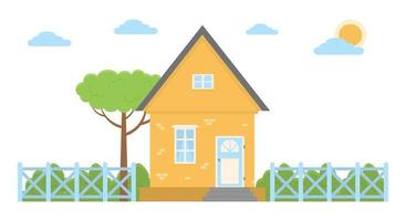Vector illustration of a country house in a flat style House icon isolated on white background Flat design vector illustration concept of country life in nature