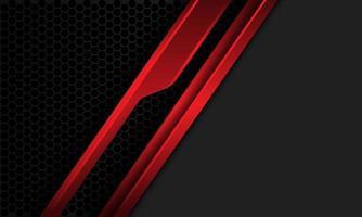 Resumen línea roja metálica cyber slash en malla hexagonal gris oscuro con diseño de espacio en blanco moderno fondo futurista ilustración vectorial vector