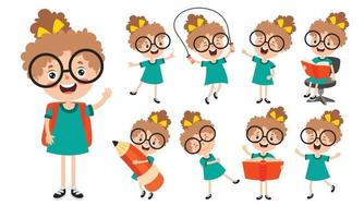 Cartoon Character Studying And Learning vector