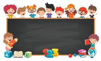 Funny Children With Empty Blackboard vector