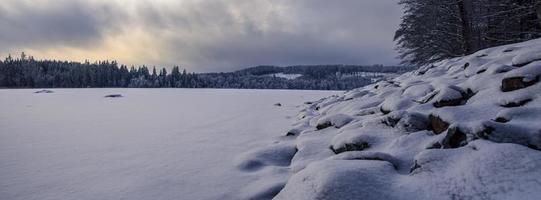 Frozen pond in winter photo