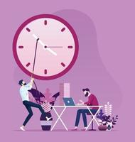 Businessman moves clock hands to change the time vector