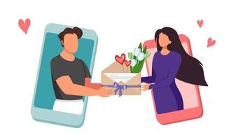 Virtual love and gift at a distance Men and women in love send flowers in an envelope via chat through an application on a mobile phone expressing love congratulating vector