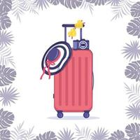Set of summer items and frame from palm leaves Bright pink suitcase striped hat with bow travel camera and yellow glasses for seaside vacation vector