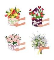 entrega de una caja redonda con tulipanes narcisos y margaritas manos sujetan ramos de flores vector