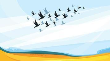 aves migratorias en el cielo azul vector