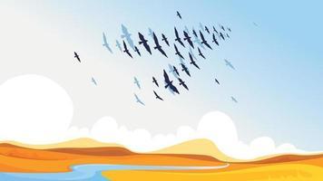 Migratory birds in the sky vector