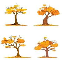 Set of trees with falling leaves vector