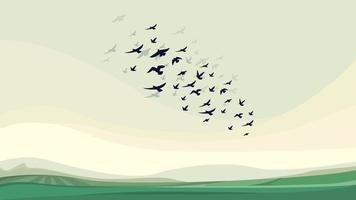 bandada de pájaros volando vector