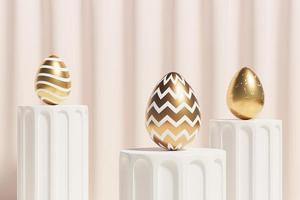 Easter eggs decorated with gold on beige podium spring April holidays card isometric 3d illustration render photo