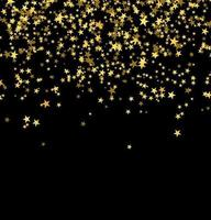 Golden stars falling from the sky on black background vector