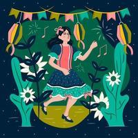 mujer bailando celebrando el festival festa junina vector