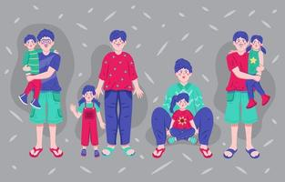 conjunto de personajes padre e hijo. vector