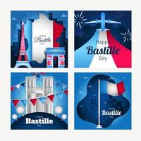 Happy Bastille Day Card Template vector