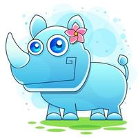 Little rhino for a child and kid printable stuff and t shirt vector