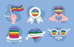 Set of Happy Pride Day Stickers vector