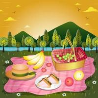 picnic en el concepto de fondo del parque vector