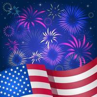 fuegos artificiales con fondo de bandera americana vector