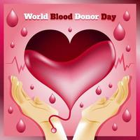 World Blood Donor Day with Heart Template vector