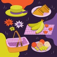 Background of Picnic Elements vector