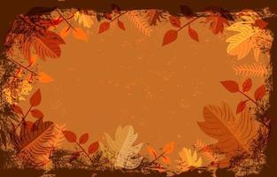 vintage con plantilla de fondo de hojas vector