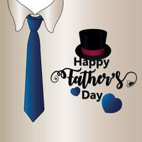 Happy father day invitation greeting card with creative vector illustration with tie and hat