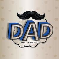 texto creativo de papá para la tarjeta de felicitación del día del padre feliz con bigote vector