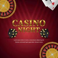 Fondo de fiesta nocturna de casino con texto dorado con ruleta y naipes vector