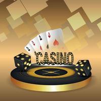 juego de casino con ilustración vectorial de ruleta jugando a las cartas y dados vector
