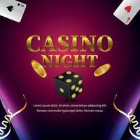 Casino night party gambling game invitation card with playing cards and dice vector