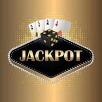 Jackpot casino gambling game with creative vector illustration of playing cards