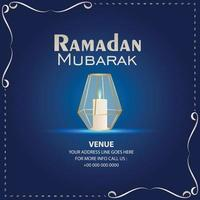 Creative vector illustration of crystal candle lantern for ramadan kareem on blue background