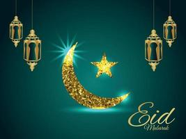 Eid mubarak vector glitter golden moon and lantern