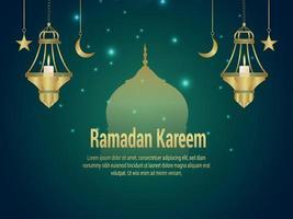 Ramadan kareem islamic background with golden lantern and mosque vector