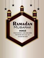 Ramadan kareem realistic islamic lantern on light background vector