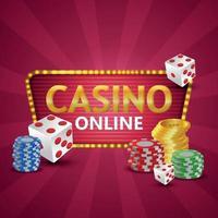 casino en línea ilustración realista con monedas de oro y fichas y dados de póquer vector