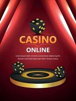 Casino online gambling game with 3d roulette wheel and dice on creative background vector