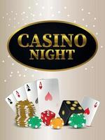 Casino night party flyer casino gambling game with playing cards and chips vector