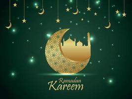 Islamic festival of pattern moon for ramadan kareem with mosque on creative background vector