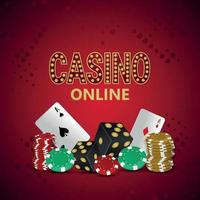 Casino online gambling game with playing card chips and dice vector