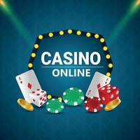 Creative realistic vector illustration of casino gambling game with playing cards chips and gold coin
