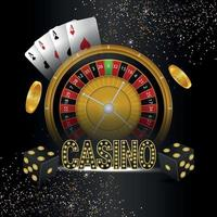 Casino gambling game with vector illustration of roulette playing cards and dice