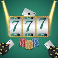 juego de casino con fichas y dados de máquinas tragamonedas vector