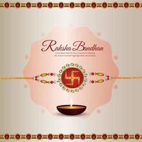 Indian festival happy raksha bandhan background with crystal rakhi vector