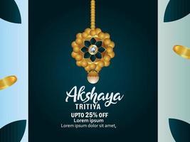 Indian festival akshaya tritiya sale promotion background with gold vector illustration