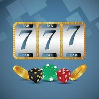 máquina tragamonedas realista de casino con monedas de oro y fichas vector