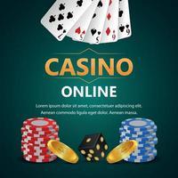 juego de casino realista con fichas de naipes vectoriales y monedas de oro vector