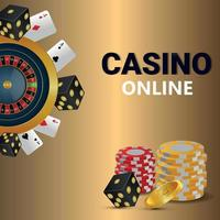 Vip casino online game with roulette wheel chips and dice vector